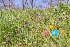 Αυγό Πάσχας στη χλόη με τα όμορφα λουλούδια Στοκ Εικόνες