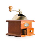 Αυθεντικός κόκκινος μύλος καφέ ξύλου και μετάλλων που απομονώνεται Στοκ Φωτογραφίες