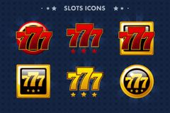Αυλακώσεις 777 app εικονίδιο, στιλπνά αντικείμενα για το παιχνίδι και GameTwist προτερημάτων Στοκ Φωτογραφία