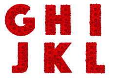 Αυξήθηκε αλφάβητο καθορισμένο - αλφάβητο κεφαλαίο γράμμα γ-λ Στοκ Εικόνες