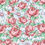 Αυξήθηκε και chamomile χέρι λουλουδιών σύροντας το άνευ ραφής σχέδιο, διανυσματικό floral υπόβαθρο, floral διακόσμηση κεντητικής, Στοκ Εικόνα