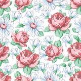 Αυξήθηκε και chamomile χέρι λουλουδιών σύροντας το άνευ ραφής σχέδιο, διανυσματικό floral υπόβαθρο, floral διακόσμηση κεντητικής  Στοκ Εικόνα