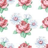 Αυξήθηκε και chamomile χέρι λουλουδιών σύροντας το άνευ ραφής σχέδιο, διανυσματικό floral υπόβαθρο, floral διακόσμηση κεντητικής  Στοκ Φωτογραφία