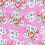 Αυξήθηκε και chamomile χέρι λουλουδιών σύροντας το άνευ ραφής σχέδιο, διανυσματικό floral υπόβαθρο, floral διακόσμηση κεντητικής  Στοκ εικόνα με δικαίωμα ελεύθερης χρήσης
