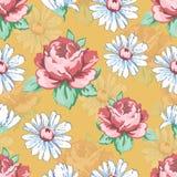 Αυξήθηκε και chamomile χέρι λουλουδιών σύροντας το άνευ ραφής σχέδιο, διανυσματικό floral υπόβαθρο, floral διακόσμηση κεντητικής  Στοκ φωτογραφία με δικαίωμα ελεύθερης χρήσης