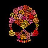 Αυξήθηκε κρανίο στο μαύρο υπόβαθρο Επικεφαλής σκελετών των πετάλων λουλουδιών Στοκ φωτογραφίες με δικαίωμα ελεύθερης χρήσης