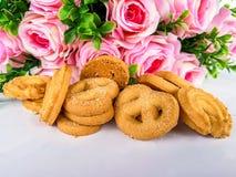 Αυξήθηκε - λουλούδι, αμύγδαλο, μπισκότο, επιδόρπιο, τρόφιμα Στοκ Φωτογραφία