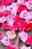 Αυξήθηκε λουλούδι ακτινοβολεί επάνω γκρίζα σύσταση Στοκ Εικόνες