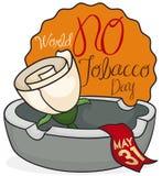 Αυξήθηκε πέρα από Ashtray και την ετικέτα για τον κόσμο καμία ημέρα καπνών, διανυσματική απεικόνιση Στοκ Εικόνες