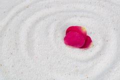 Αυξήθηκε πέταλα λουλουδιών στην άσπρη άμμο Στοκ Εικόνα