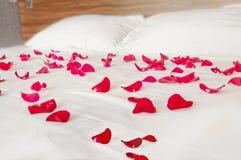 Αυξήθηκε πέταλα στην άσπρη κλινοστρωμνή - ρομαντικό τοπίο κρεβατοκάμαρων Στοκ φωτογραφία με δικαίωμα ελεύθερης χρήσης