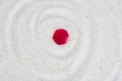 Αυξήθηκε πέταλο λουλουδιών στην άσπρη άμμο Στοκ Εικόνες