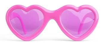 Αυξήθηκε ρόδινα χρωματισμένα γυαλιά σε μια καρδιά μορφής Ευτυχία και αγάπη ομο απεικόνιση αποθεμάτων