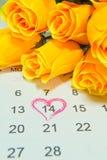 αυξήθηκε στην ημερολογιακή σελίδα που δείχνει 14 Στοκ Εικόνα