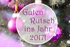 Αυξήθηκε σφαίρες Χριστουγέννων χαλαζία, Guten Rutsch 2017 νέο έτος μέσων Στοκ φωτογραφία με δικαίωμα ελεύθερης χρήσης