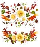 Αυξήθηκε τέχνη συνδετήρων ανθοδεσμών λουλουδιών με τα ενιαία φύλλα Στοκ Φωτογραφία