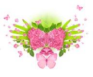 Αυξήθηκε χέρια πεταλούδων Στοκ Εικόνα
