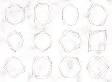 Αυξήθηκε χρυσά γεωμετρικά polygonal πλαίσια Διακοσμητικά σύνορα γραμμών Στοιχεία σχεδίου πολυτέλειας για τη γαμήλια πρόσκληση, bl διανυσματική απεικόνιση