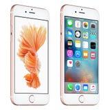 Αυξήθηκε χρυσή μπροστινή άποψη iPhone της Apple 6s ελαφρώς με iOS 9 Στοκ Εικόνες