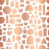 Αυξήθηκε χρυσό άνευ ραφής διανυσματικό σχέδιο μορφής doodle φύλλων αλουμινίου γεωμετρικό Συρμένες χέρι λαμπρές μεταλλικές καρδιές απεικόνιση αποθεμάτων