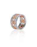 Αυξήθηκε χρυσό ασημένιο γαμήλιο δαχτυλίδι Στοκ Εικόνες