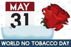 Αυξήθηκε, Ashtray και υπενθυμίσεων ημερομηνία για τον κόσμο καμία ημέρα καπνών, διανυσματική απεικόνιση Στοκ Εικόνες