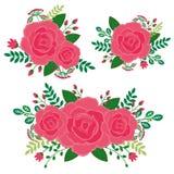 Αυξήθηκε floral στοιχεία καθορισμένα - δώστε το συρμένο διάνυσμα Στοκ Φωτογραφία