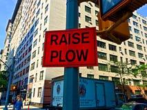 Αυξήστε το σημάδι αρότρων σε NYC στοκ φωτογραφία με δικαίωμα ελεύθερης χρήσης