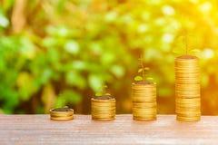 Αυξανόμενα ασημένια νομίσματα και εξοικονόμηση των χρημάτων Στοκ φωτογραφία με δικαίωμα ελεύθερης χρήσης