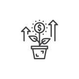 Αυξανόμενες εγκαταστάσεις, λουλούδι με το εικονίδιο γραμμών σημαδιών δολαρίων, διανυσματικό σημάδι περιλήψεων, γραμμικό εικονόγρα Στοκ φωτογραφία με δικαίωμα ελεύθερης χρήσης
