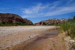 Αυξανόμενη παγκόσμια αύξηση της θερμοκρασίας λόγω του φαινομένου του θερμοκηπίου: ευρύς ποταμός που στεγνώνουν σε μια μικροσκοπικ Στοκ Φωτογραφίες