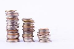 Αυξανόμενος τα χρήματα στη σειρά του νομίσματος στην άσπρη επιχείρηση χρηματοδότησης υποβάθρου που απομονώνεται στοκ φωτογραφίες