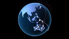 Αυξανόμενο δίκτυο σε όλη την υδρόγειο ελεύθερη απεικόνιση δικαιώματος