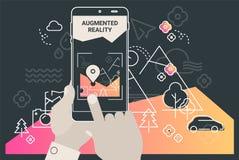 Αυξημένη app τουρισμού πόλεων πραγματικότητας κινητή έννοια ελεύθερη απεικόνιση δικαιώματος