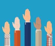 Αυξημένος επάνω στα χέρια Οι άνθρωποι ψηφίζουν τα χέρια ελεύθερη απεικόνιση δικαιώματος
