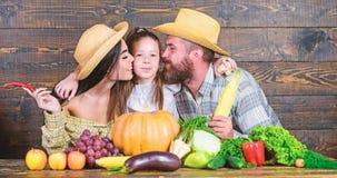 Αυξημένος με την αγάπη Αγρότες οικογενειακού αγροτικοί ύφους στην αγορά με τα φρούτα και την πρασινάδα λαχανικών Συγκομιδή γονέων στοκ φωτογραφία