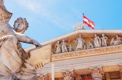 Αυστρία Βιέννη Αυστριακό κτήριο των Κοινοβουλίων με το statu Αθηνάς στοκ φωτογραφίες με δικαίωμα ελεύθερης χρήσης