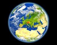 Αυστρία στο κόκκινο από το διάστημα Στοκ φωτογραφία με δικαίωμα ελεύθερης χρήσης