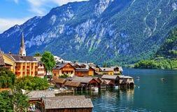 Αυστρία hallstatt Παλαιό χωριό στη λίμνη στοκ φωτογραφία με δικαίωμα ελεύθερης χρήσης