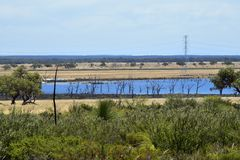 Αυστραλία, φύση, τοπίο με τη λίμνη Στοκ εικόνα με δικαίωμα ελεύθερης χρήσης