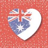 Αυστραλιανή σημαία στην καρδιά στην αδιαφάνεια γραφική στο κόκκινο υπόβαθρο με το κομφετί απεικόνιση αποθεμάτων