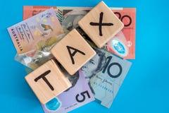 Αυστραλιανό δολάριο με τον ξύλινο φορολογικό χρόνο κύβων Στοκ Εικόνες