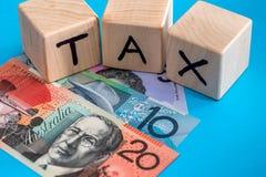 Αυστραλιανό δολάριο με τους ξύλινους κύβους Στοκ εικόνες με δικαίωμα ελεύθερης χρήσης