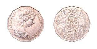 αυστραλιανό δολάριο πηνίων σεντ 50 Στοκ Εικόνα