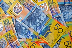 αυστραλιανό δολάριο πενήντα νομίσματος σημειώσεις Στοκ Εικόνα