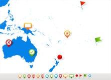Αυστραλία και χαρτών και ναυσιπλοΐας της Ωκεανίας εικονίδια - απεικόνιση Στοκ Εικόνες