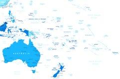 Αυστραλία και Ωκεανία - χάρτης - απεικόνιση Στοκ Εικόνες