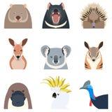 Αυστραλιανά επίπεδα εικονίδια ζώων Στοκ Φωτογραφία