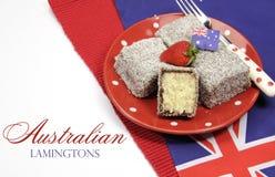 Αυστραλιανά lamingtons με το κείμενο δείγμα Στοκ εικόνες με δικαίωμα ελεύθερης χρήσης