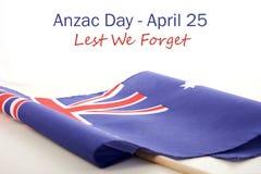 Αυστραλιανή διπλωμένη σημαία ημέρας ANZAC Στοκ Εικόνες
